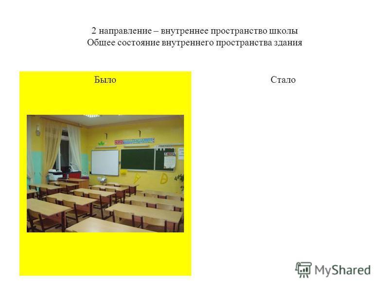 Было 2 направление – внутреннее пространство школы Общее состояние внутреннего пространства здания Стало