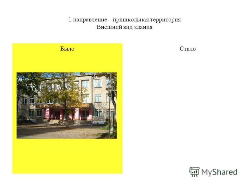1 направление – пришкольная территория Внешний вид здания Было Стало