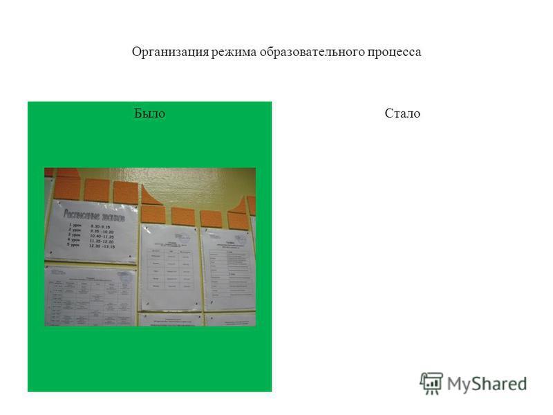 Было Организация режима образовательного процесса Стало