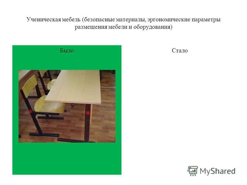 Было Ученическая мебель (безопасные материалы, эргономические параметры размещения мебели и оборудования) Стало