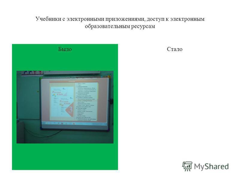 Было Учебники с электронными приложениями, доступ к электронным образовательным ресурсам Стало