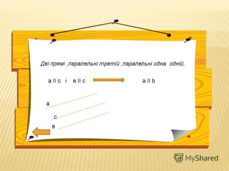 Дві прямі,паралельні третій,паралельні одна одній. а ІІ с і в ІІ с а ІІ b а с в