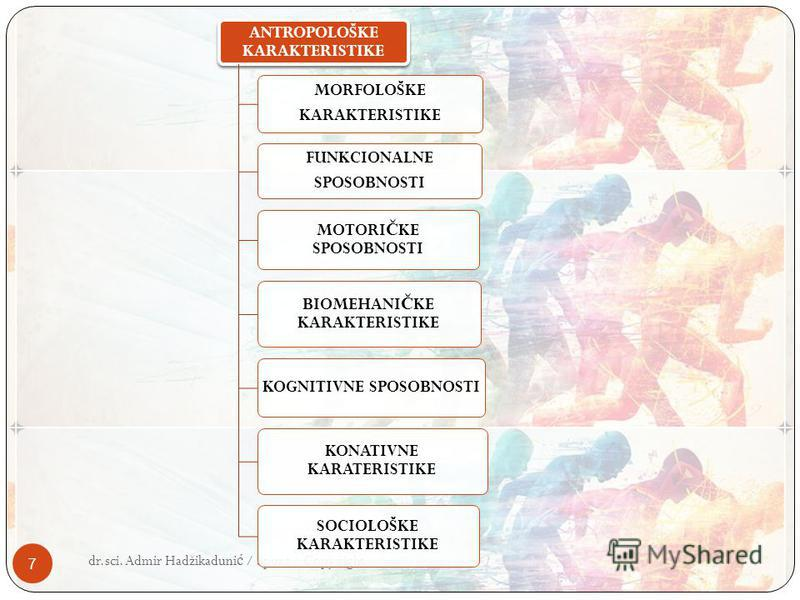 7 ANTROPOLOŠKE KARAKTERISTIKE MORFOLOŠKE KARAKTERISTIKE FUNKCIONALNE SPOSOBNOSTI MOTORI Č KE SPOSOBNOSTI BIOMEHANI Č KE KARAKTERISTIKE KOGNITIVNE SPOSOBNOSTI KONATIVNE KARATERISTIKE SOCIOLOŠKE KARAKTERISTIKE