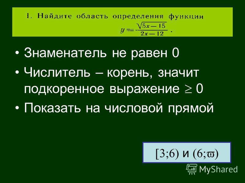 Знаменатель не равен 0 Числитель – корень, значит подкоренное выражение 0 Показать на числовой прямой и