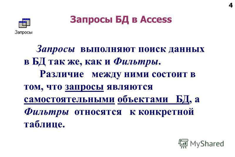 4 Запросы БД в Access Запросы выполняют поиск данных в БД так же, как и Фильтры. Различие между ними состоит в том, что запросы являются самостоятельными объектами БД, а Фильтры относятся к конкретной таблице.