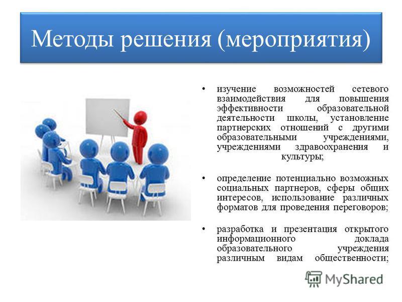 Методы решения (мероприятия) изучение возможностей сетевого взаимодействия для повышения эффективности образовательной деятельности школы, установление партнерских отношений с другими образовательными учреждениями, учреждениями здравоохранения и куль