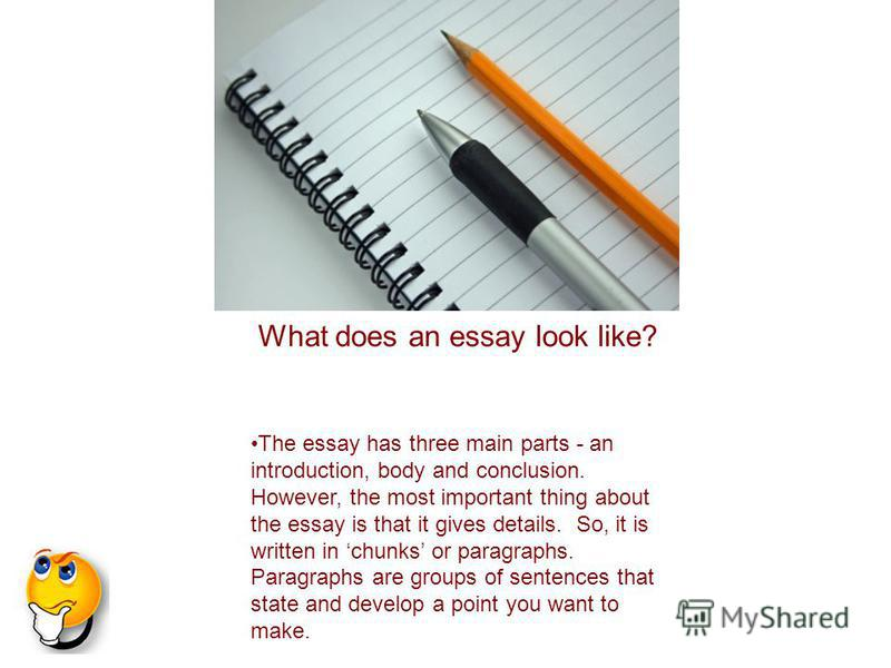 The essay has three main parts - an introduction, body and conclusion. However, the most important thing about the essay is that it gives details. So, it is written in chunks or paragraphs. Paragraphs are groups of sentences that state and develop a