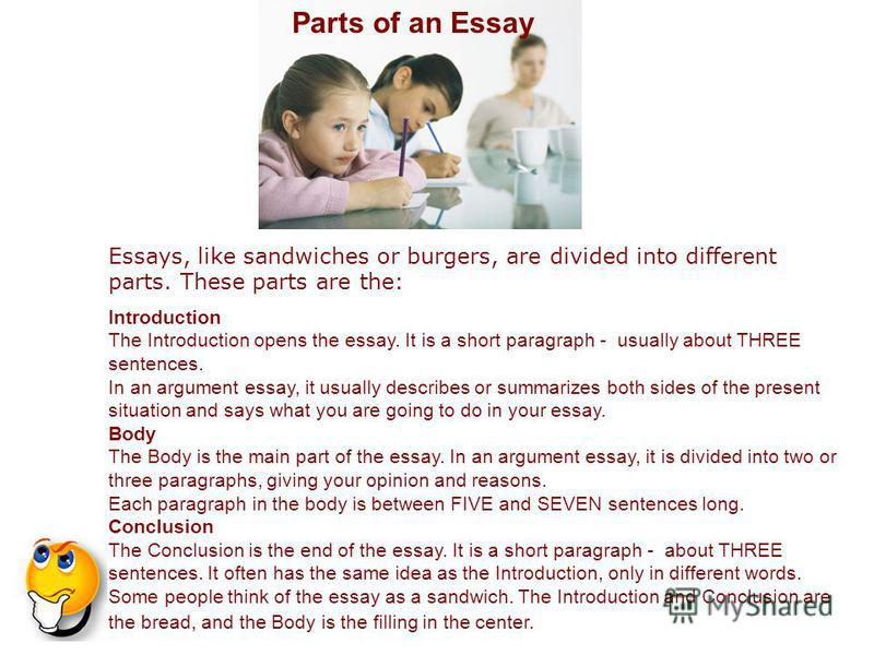 different part of an essay Gui̇de to di̇fferent ki̇nds of essays descriptive: examples: a descriptive essay could describe     a tree in my backyard  this essay is a study of the relationship between two or more events or experiences a cause essay discusses the reasons why something happened.