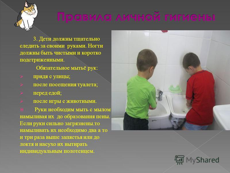3. Дети должны тщательно следить за своими руками. Ногти должны быть чистыми и коротко подстриженными. Обязательное мытьё рук: придя с улицы; после посещения туалета; перед едой; после игры с животными. Руки необходим мыть с мылом намыливая их до обр