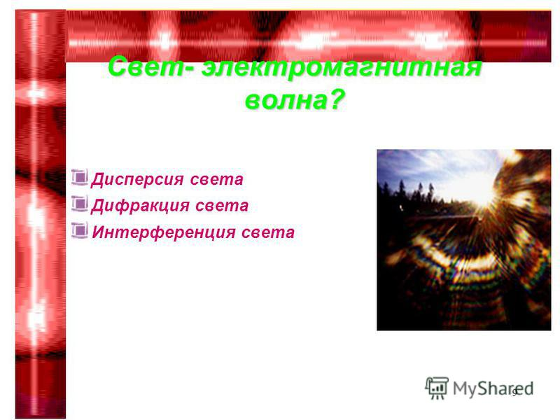 Гимназия 75 Сабирова Р.Р.9 Дисперсия света Дифракция света Интерференция света Свет- электромагнитная волна?