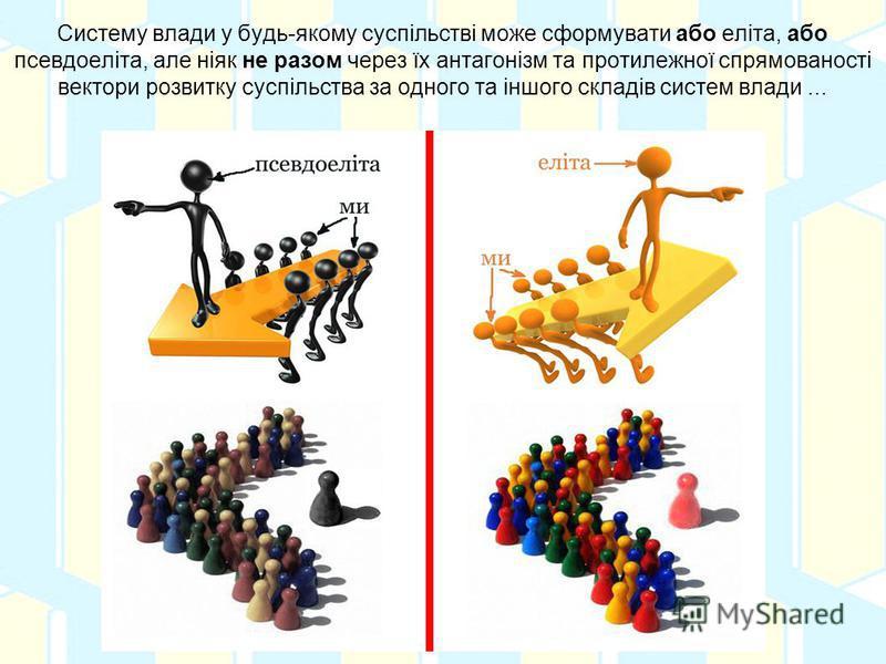 Систему влади у будь-якому суспільстві може сформувати або еліта, або псевдоеліта, але ніяк не разом через їх антагонізм та протилежної спрямованості вектори розвитку суспільства за одного та іншого складів систем влади...