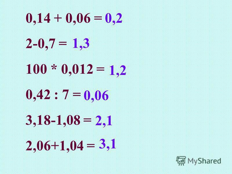 0,14 + 0,06 = 2-0,7 = 100 * 0,012 = 0,42 : 7 = 3,18-1,08 = 2,06+1,04 = 2,1 0,06 1,2 1,3 3,1 0,2