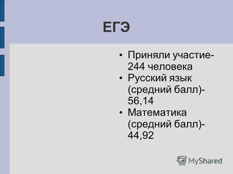 ЕГЭ Приняли участие- 244 человека Русский язык (средний балл)- 56,14 Математика (средний балл)- 44,92