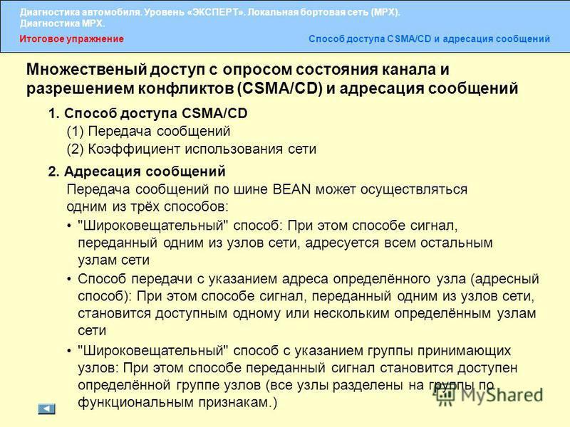 Итоговое упражнение Способ доступа CSMA/CD и адресация сообщений Множественый доступ с опросом состояния канала и разрешением конфликтов (CSMA/CD) и адресация сообщений 1. Способ доступа CSMA/CD (1) Передача сообщений (2) Коэффициент использования се