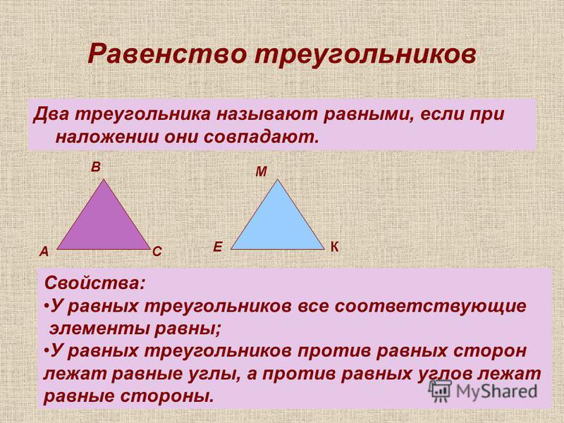 Равенство треугольников Два треугольника называют равными, если при наложении они совпадают. А В С Е М К Свойства: У равных треугольников все соответствующие элементы равны; У равных треугольников против равных сторон лежат равные углы, а против равн