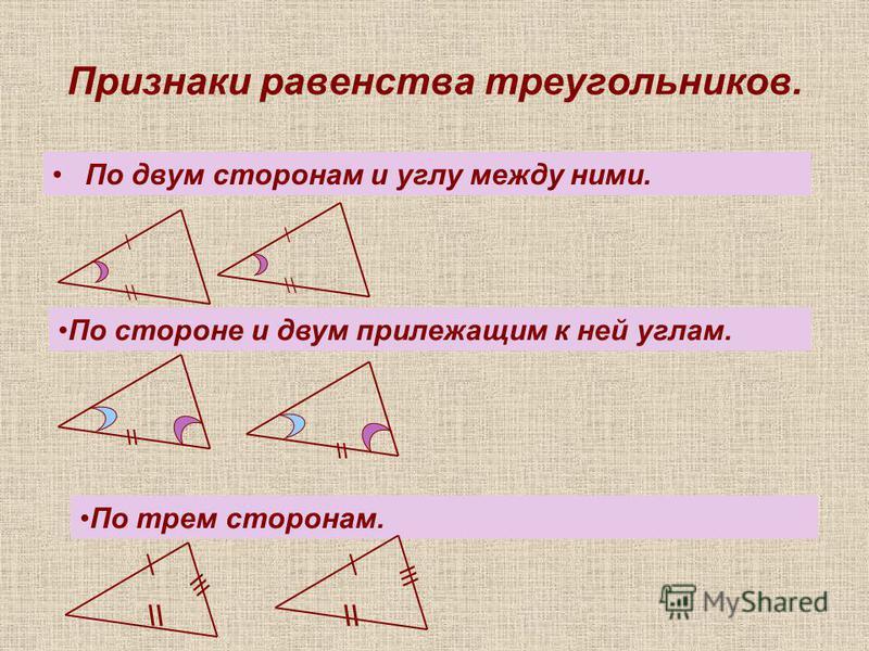 Признаки равенства треугольников. По двум сторонам и углу между ними. \ \ \\ По стороне и двум прилежащим к ней углам. \\ По трем сторонам. \\ \\ \\\