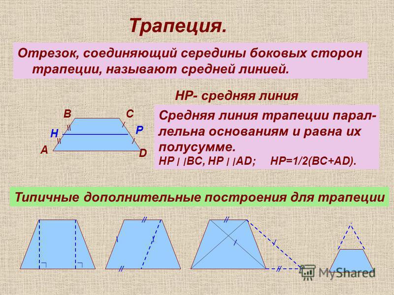 Трапеция. Отрезок, соединяющий середины боковых сторон трапеции, называют средней линией. / / \\ А ВС D H P НР- средняя линия Средняя линия трапеции параллельна основаниям и равна их полусумме. НР ׀ ׀ ВС, НР ׀ ׀AD; НР=1/2(ВС+АD). Типичные дополнитель