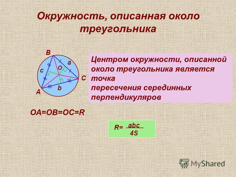 Окружность, описанная около треугольника О А В С а b c / / \\ \\\ Центром окружности, описанной около треугольника является точка пересечения серединных перпендикуляров ОА=ОВ=ОС=R R= abc 4S