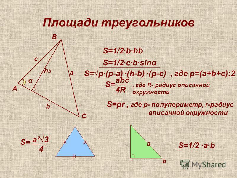 Площади треугольников А В С а b c α hbhb S=1/2·b·hb S=1/2·c·b·sinα S=p·(p-a) ·(h-b) ·(p-c), где р=(а+b+c):2 S= abc 4R, где R- радиус описанной окружности S=pr, где р- полупериметр, r-радиус вписанной окружности \\ S= a²3 4 a b S=1/2 ·a·b