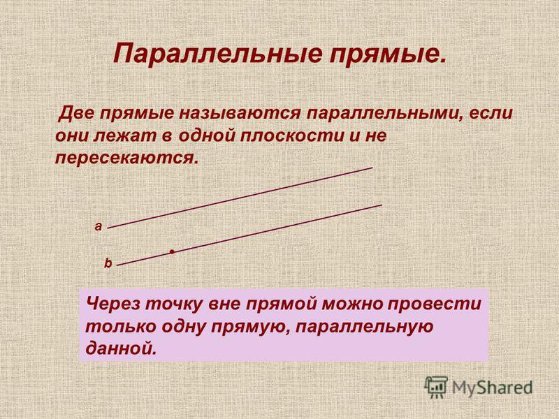 Параллельные прямые. Две прямые называются параллельными, если они лежат в одной плоскости и не пересекаются. а b Через точку вне прямой можно провести только одну прямую, параллельную данной.