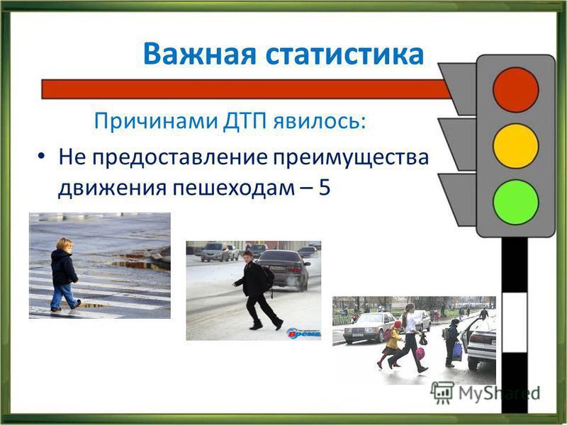 Важная статистика Причинами ДТП явилось: Не предоставление преимущества движения пешеходам – 5