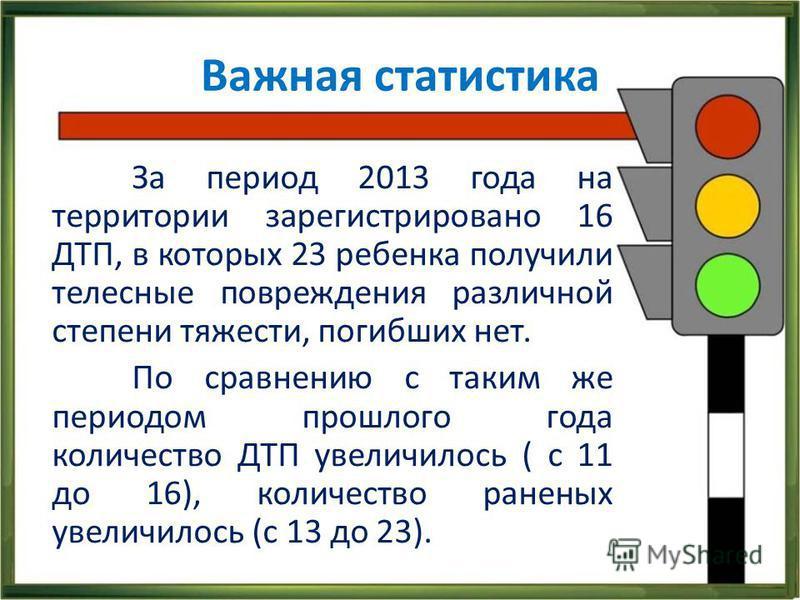 Важная статистика За период 2013 года на территории зарегистрировано 16 ДТП, в которых 23 ребенка получили телесные повреждения различной степени тяжести, погибших нет. По сравнению с таким же периодом прошлого года количество ДТП увеличилось ( с 11