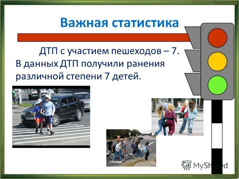 Важная статистика ДТП с участием пешеходов – 7. В данных ДТП получили ранения различной степени 7 детей.