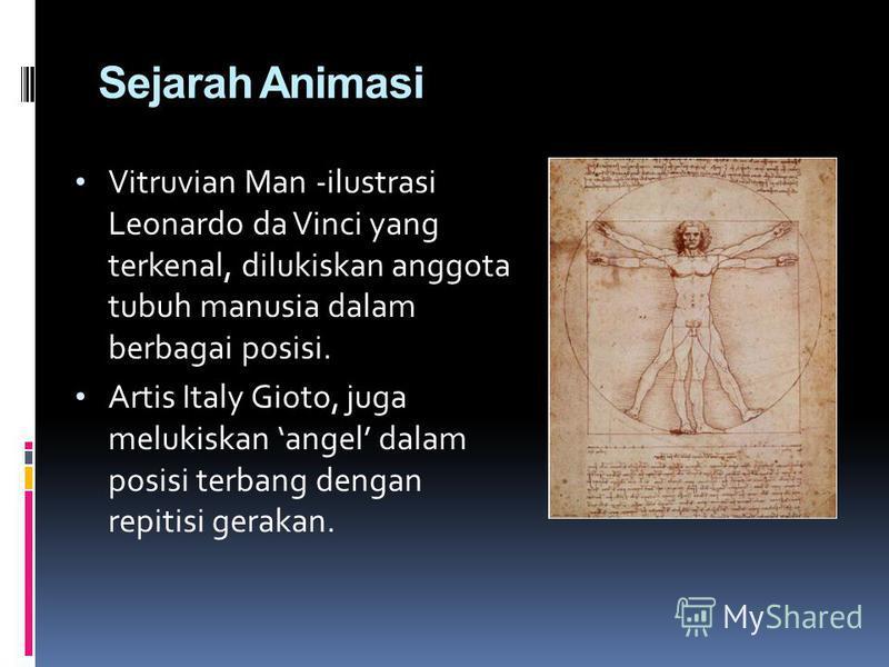 Sejarah Animasi Vitruvian Man -ilustrasi Leonardo da Vinci yang terkenal, dilukiskan anggota tubuh manusia dalam berbagai posisi. Artis Italy Gioto, juga melukiskan angel dalam posisi terbang dengan repitisi gerakan.