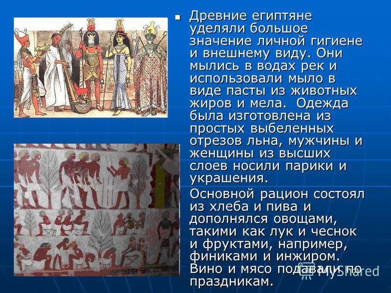 Древние египтяне уделяли большое значение личной гигиене и внешнему виду. Они мылись в водах рек и использовали мыло в виде пасты из животных жиров и мела. Одежда была изготовлена из простых выбеленных отрезов льна, мужчины и женщины из высших слоев