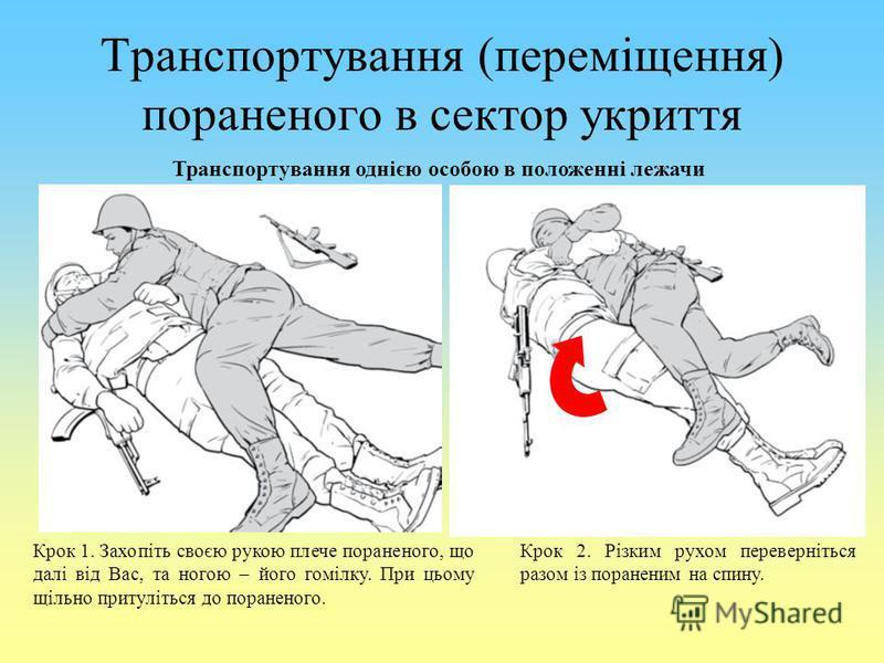 Транспортування (переміщення) пораненого в сектор укриття Транспортування однією особою в положенні лежачи Крок 1. Захопіть своєю рукою плече пораненого, що далі від Вас, та ногою – його гомілку. При цьому щільно притуліться до пораненого. Крок 2. Рі