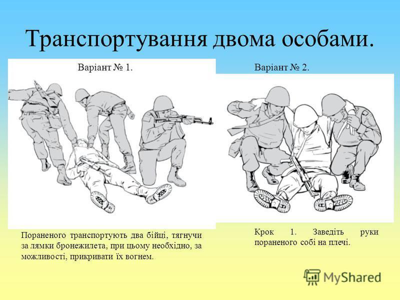 Транспортування двома особами. Варіант 1.Варіант 2. Пораненого транспортують два бійці, тягнучи за лямки бронежилета, при цьому необхідно, за можливості, прикривати їх вогнем. Крок 1. Заведіть руки пораненого собі на плечі.