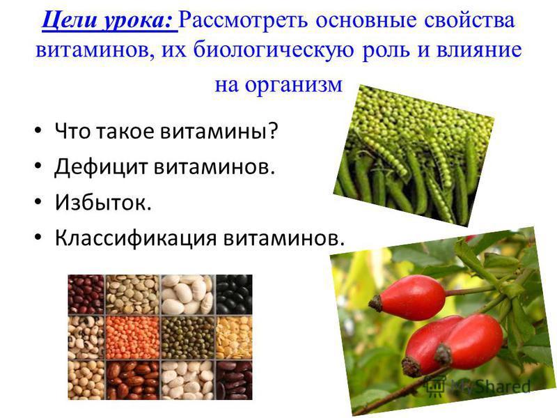 Цели урока: Рассмотреть основные свойства витаминов, их биологическую роль и влияние на организм Что такое витамины? Дефицит витаминов. Избыток. Классификация витаминов.