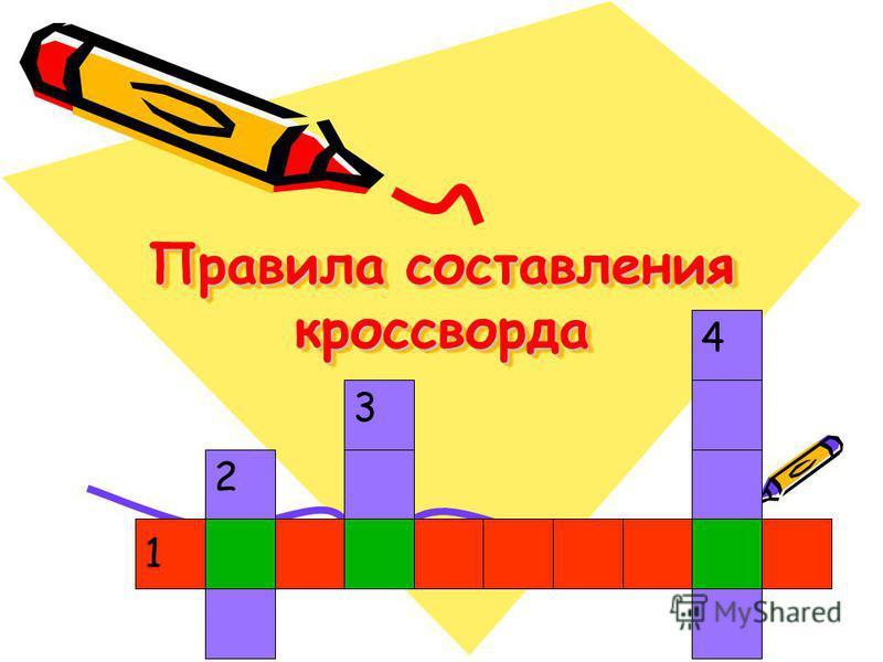 Правила составления кроссворда Правила составления кроссворда 1 2 3 4