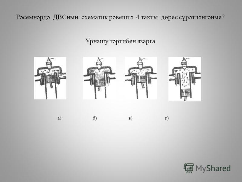 Рәсемнәрдә ДВСның схематик рәвештә 4 такты дөрес сүрәтләнгәнме? Урнашу тәртибен язарга а) б) в) г)