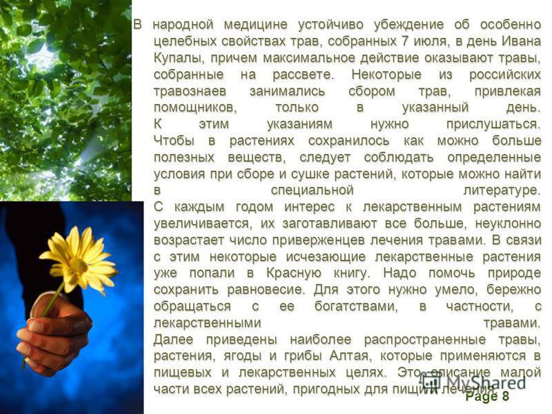 Free Powerpoint Templates Page 8 В народной медицине устойчиво убеждение об особенно целебных свойствах трав, собранных 7 июля, в день Ивана Купалы, причем максимальное действие оказывают травы, собранные на рассвете. Некоторые из российских травозна