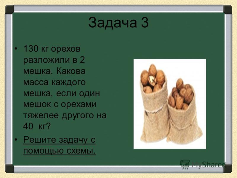 Задача 3 130 кг орехов разложили в 2 мешка. Какова масса каждого мешка, если один мешок с орехами тяжелее другого на 40 кг? Решите задачу с помощью схемы.