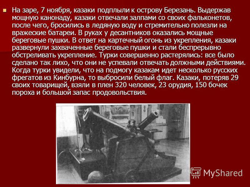 На заре, 7 ноября, казаки подплыли к острову Березань. Выдержав мощную канонаду, казаки отвечали залпами со своих фальконетов, после чего, бросились в ледяную воду и стремительно полезли на вражеские батареи. В руках у десантников оказались мощные бе