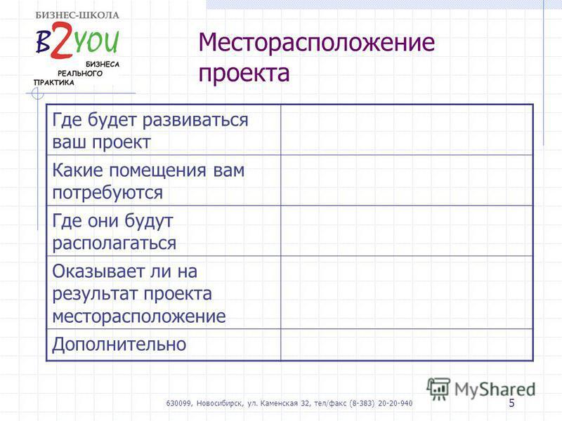 630099, Новосибирск, ул. Каменская 32, тел/факс (8-383) 20-20-940 5 Месторасположение проекта Где будет развиваться ваш проект Какие помещения вам потребуются Где они будут располагаться Оказывает ли на результат проекта месторасположение Дополнитель