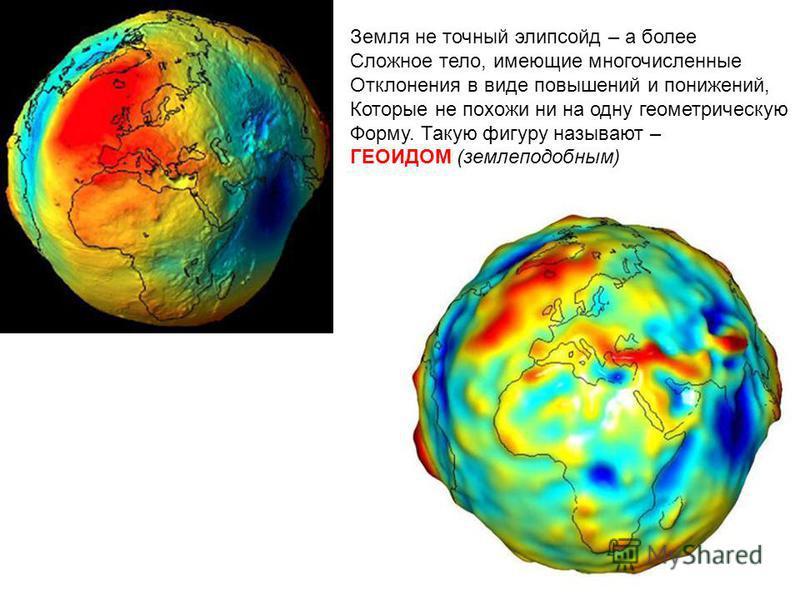 Земля не точный элипсойд – а более Сложное тело, имеющие многочисленные Отклонения в виде повышений и понижений, Которые не похожи ни на одну геометрическую Форму. Такую фигуру называют – ГЕОИДОМ (землеподобным)