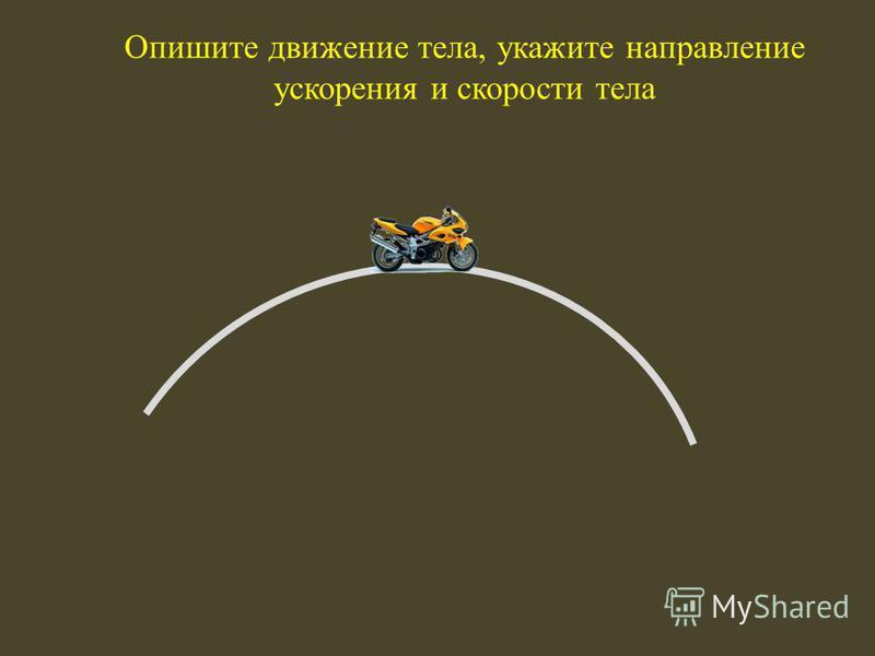 Опишите движение тела, укажите направление ускорения и скорости тела