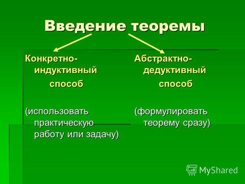 Введение теоремы Конкретно- индуктивный способ (использовать практическую работу или задачу) Абстрактно- дедуктивный способ (формулировать теорему сразу)