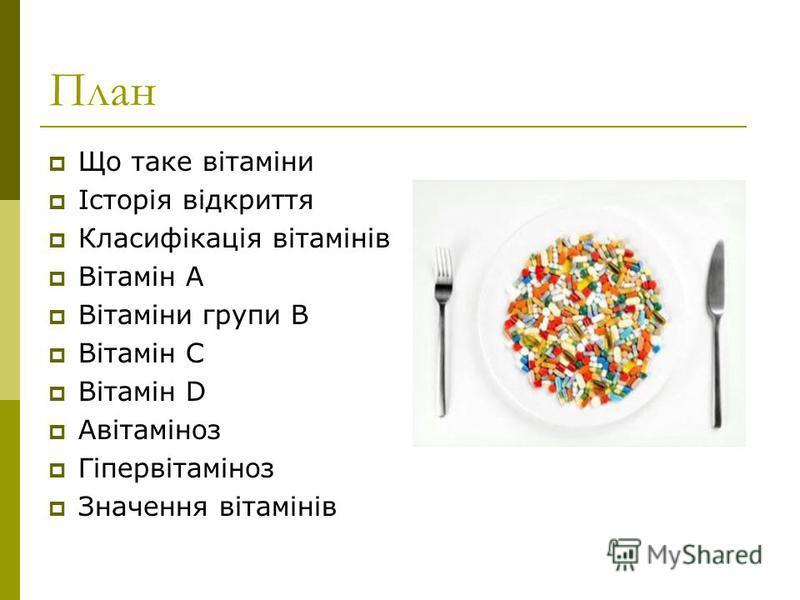 План Що таке вітаміни Історія відкриття Класифікація вітамінів Вітамін А Вітаміни групи В Вітамін С Вітамін D Авітаміноз Гіпервітаміноз Значення вітамінів