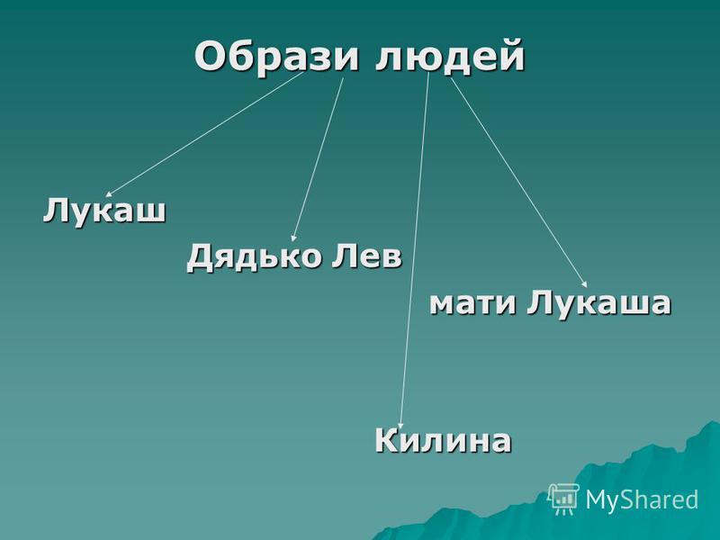 Образи людей Лукаш Дядько Лев мати Лукаша Килина