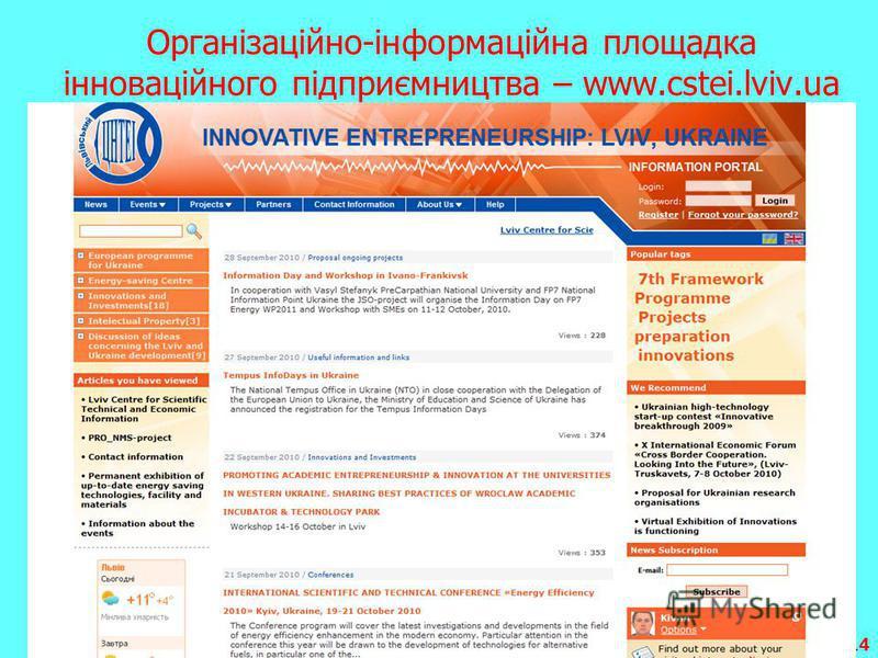 14 Організаційно-інформаційна площадка інноваційного підприємництва – www.cstei.lviv.ua
