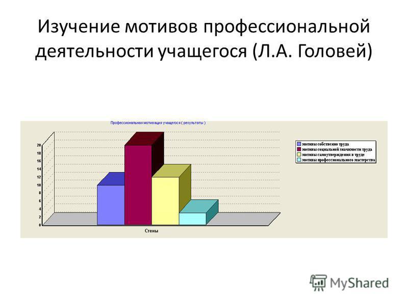 Изучение мотивов профессиональной деятельности учащегося (Л.А. Головей)