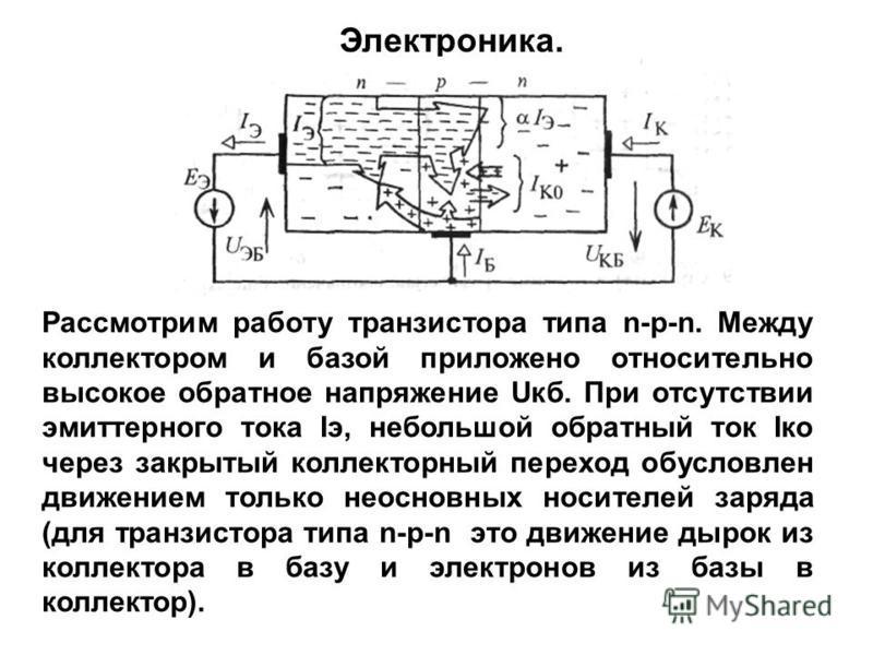 Рассмотрим работу транзистора типа n-р-n. Между коллектором и базой приложено относительно высокое обратное напряжение Uкб. При отсутствии эмиттерного тока Iэ, небольшой обратный ток Iко через закрытый коллекторный переход обусловлен движением только