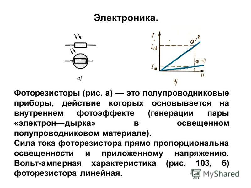 Фоторезисторы (рис. а) это полупроводниковые приборы, действие которых основывается на внутреннем фотоэффекте (генерации пары «электрондырка» в освещенном полупроводниковом материале). Сила тока фоторезистора прямо пропорциональна освещенности и прил