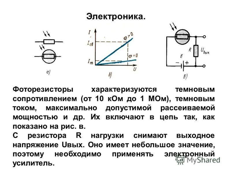 Фоторезисторы характеризуются темновым сопротивлением (от 10 к Ом до 1 МОм), темновым током, максимально допустимой рассеиваемой мощностью и др. Их включают в цепь так, как показано на рис. в. С резистора R нагрузки снимают выходное напряжение Uвых.