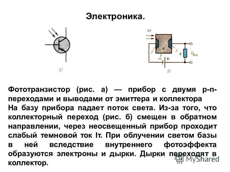 Фототранзистор (рис. а) прибор с двумя p-n- переходами и выводами от эмиттера и коллектора На базу прибора падает поток света. Из-за того, что коллекторный переход (рис. б) смещен в обратном направлении, через неосвещенный прибор проходит слабый темн