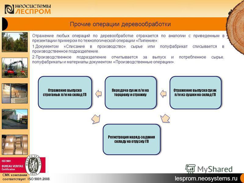 lesprom.neosystems.ru СМК компании соответствует ISO 9001:2008 Прочие операции деревообработки Отражение любых операций по деревообработке отражается по аналогии с приведенным в презентации примером по технологической операции «Пиление»: 1. Документо